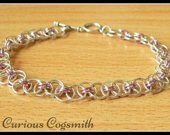 Pink Helm weave Chain Mail Bracelet - Chainmail Bracelet - Chain mail Bracelet - Toggle clasp Bracelet