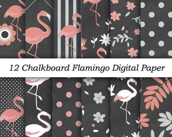 "INSTANT DOWNLOAD ""Chalkboard Flamingo Digital Papers"" 12x12 sheets 300 dpi patterns scrapbooking flamingo clipart for baby shower invitation"