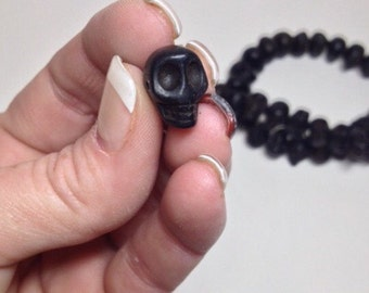 Full strand Stone Skull Bead For Crafting or Accent-Black, small