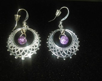 Darling and dainty silver and purple drop earrings,  copper posts 4055BE