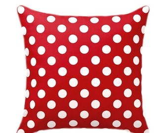 Red Polka Dot Pillow Cover, Lipstick Red and White Decorative Throw Pillow, Euro Sham, Polka Dot Pillow, Red Pillow Cove with Hidden Zipper