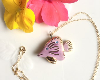 Handmade Purple Tropical Fish Pendant with 22k Gold Accents and 14k Gold Fill Chain