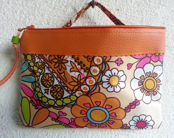 cosmetic bag, utility pouch *** oilcloth *** orange