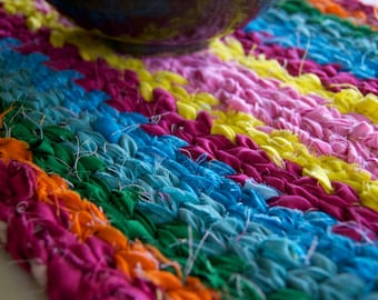 Twined Rag Rug Mat Pink Orange Aqua Yellow Green 17 x 10 inches