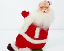Vintage Retro Sitting Waving Santa Claus Rubber Face Christmas Decoration