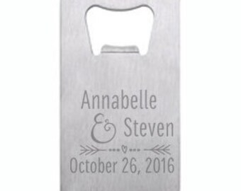 Happy Couple Wallet Card Bottle Opener Engraved Personalized