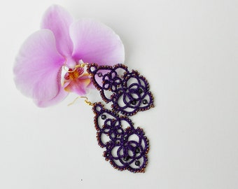 Tatted earrings , Purple earrings, long earrings, lace earrings, dangle earrings, handmade, statement earrings, tatting jewelry, gift ideas