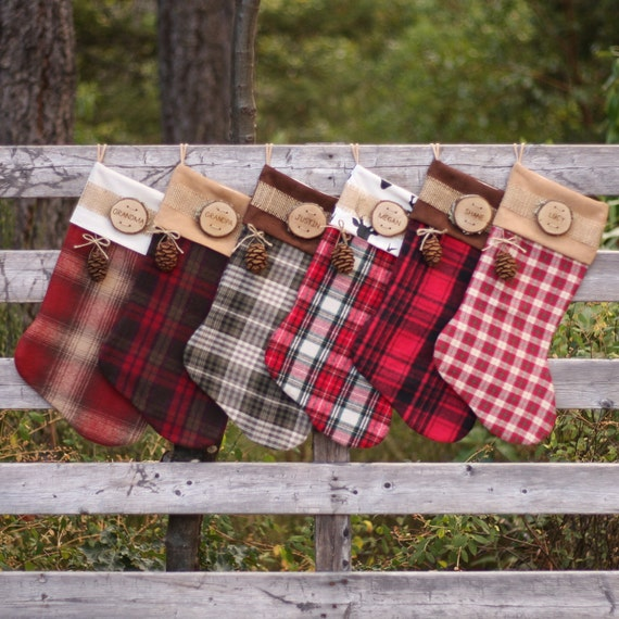 Rustic christmas stocking personalized wood slice name tag