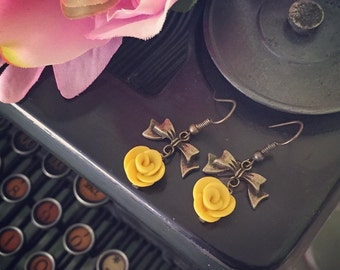 Shabby Chic Yellow Rose Earrings with Bronze Bow