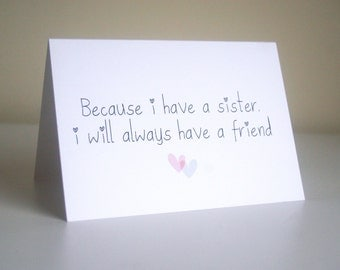 Sisters card. Friend card. Quirky sister card.