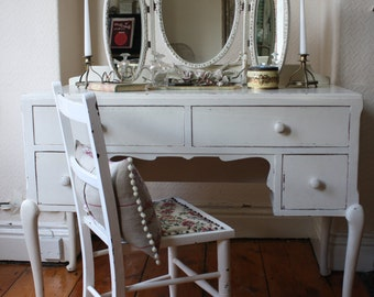 Lovely Vintage Dressing Table or Desk with Original White Paintwork
