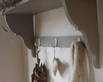 Vintage Coat Hook Rack in Mulberry Grey