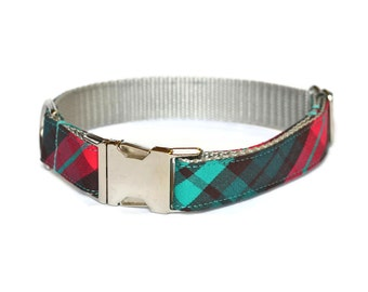 Red And Teal Plaid Dog Collar, Preppy Dog Collar, Plaid Dog Collar, Tartan Dog Collar, Tartan Plaid, Male Dog Collar, Dog Gift