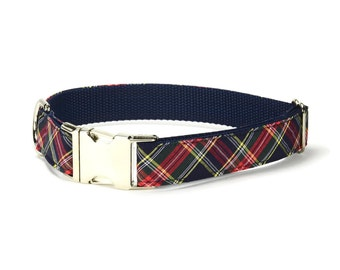 Navy And Red Plaid Dog Collar, Plaid Dog Collar, Navy Plaid Dog Collar, Preppy Dog Collar, Blue Dog Collar, Blue Plaid Dog Collar