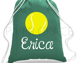 Tennis Drawstring Bag, Tennis Bag, Tennis Gifts, Gifts for Tennis Players, Personalized Tennis Gifts, Sports Bag, Sports Backpack