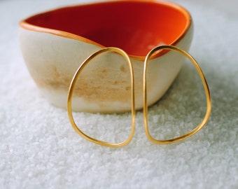 Golden Hoop Earrings,Organic Form Statement Earrings, Goldenplated Silver