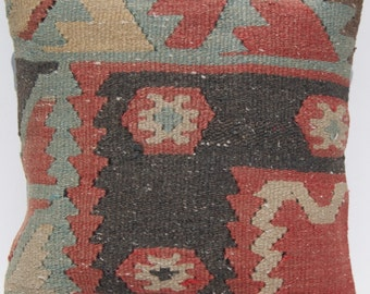 Designer pillow Turkish kilim pillow  cover hand woven vintage square wool kelim  area rug G1191