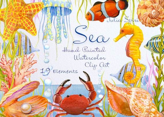 Watercolor Sea Clipart,  Marine, Ocean, Fish, Starfish, Pearl, Seahorse, Jellyfish, Bubbles, Shell, Crab, Seaweed Coral Invitation, Diy. Sea