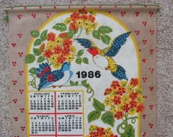Vintage 1986 Wall Hanging Calendar