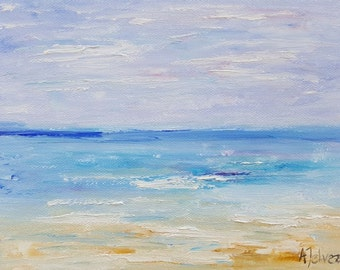 Seascape painting Beach art Original oil painting Small painting Beach painting Landscape art Seascape oil painting By Alina Jelvez 6x8""