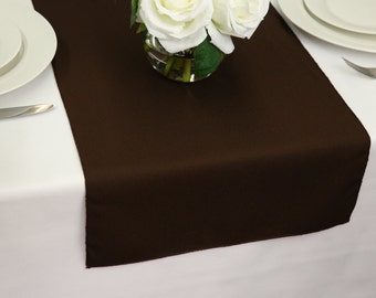 Chocolate Brown Table Runner Polyester | Wedding Table Runners
