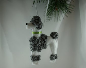 felt poodle ornament, white and grey poodle ornament, handmade felt ornament