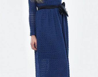 Blue Knitted Maxi Women's Dress