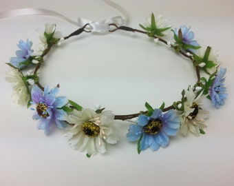 Light blue and ivory flower crown, flower hair garland, flower hair wreath, flower hair piece, flower girl, festival crown, flower headband