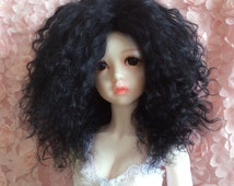 Custom made bjd mohair wig pukifee mohair wig black wig BJD outfit Sd mohair wig MSD mohair wig YOSD mohair wig kaye wiggs mohair wig