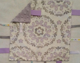 Butterfly infant security blanket with ribbons