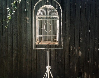 Antique Large Rustic White Metal Wire Bird Cage with Stand