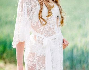 AMBRE lace robe - Chantilly lace robe - bridal lace robe , lace kimono , bridal robe , lace robe , getting ready robe, bridesmaid robe