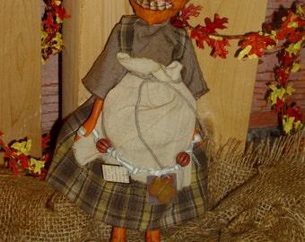 "Primitive Pumpkin Doll ""Jodi"" OR ""Andy"" Halloween Decoration Fall Autumn"