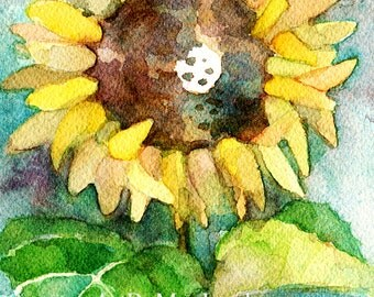 Sunflower, ACEO print of my original watercolor painting