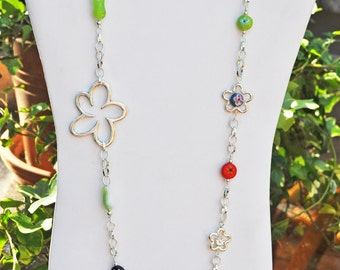 Extra long Colorful Flower Necklace