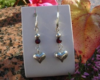 925 Silver Earring with Crystal and heart!