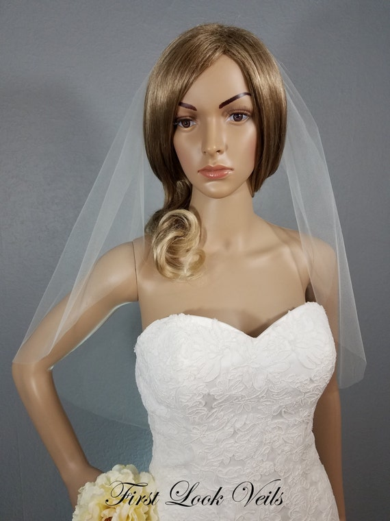 Wedding Veil, Bridal Veil, Waist Length, Handmade, One Layer, Bride Accessory, Gift