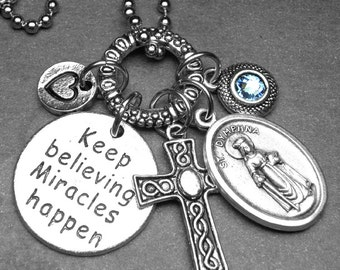 Keep Believing Miracles Happen Mental Illness Patron Saint Dymphna Holy Medal Charm Necklace, Custom Birthstone, Catholic Jewelry Gift