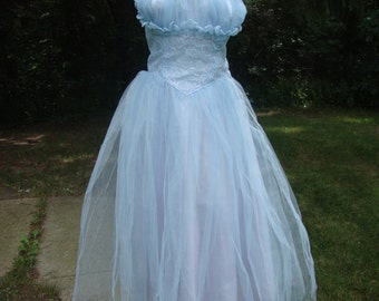 SALE!  Vintage 1950's Ice Blue Tulle Strapless Prom Dress & Lace Jacket * Shelf Bust * Full Skirt * XS-S
