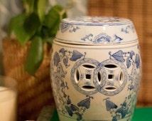 Vintage Mini Chinoiserie Garden Stool, Mini Ming Blue White Porcelain Ceramic, Chinoiserie Candle Holder, Chinoiserie Style Vase