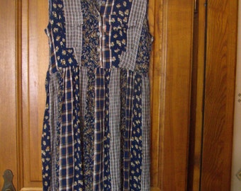 Vintage 90s, fabric seersucker dress sleeveless button-TEDDY