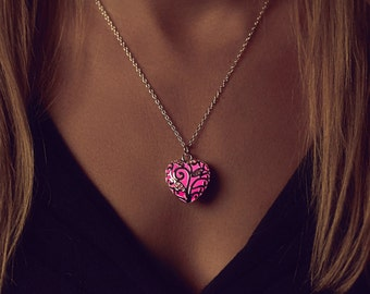 Small Pink Glowing Necklace - Pink Heart Necklace - Glow Necklace - Glow in the Dark - Unique Gift - Best Friend Gift - Silver Necklace