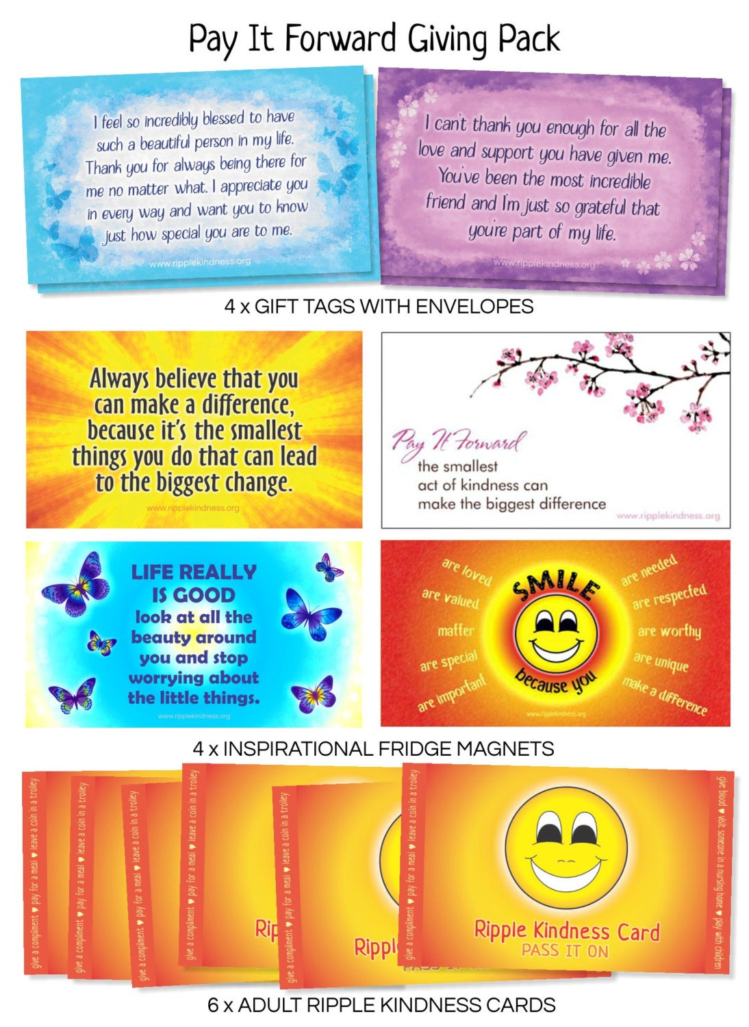 pay it forward giving pack fridge magnets gift tags. Black Bedroom Furniture Sets. Home Design Ideas