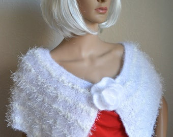 Hand knitted women's shawl