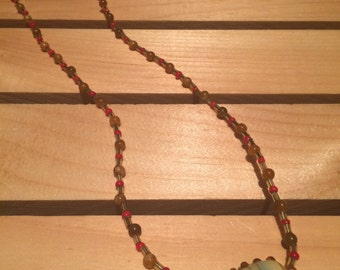Glass Focal Bead Necklace - FREE U.S. SHIPPING