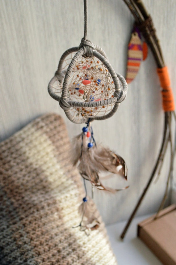 Grey boho 3d dream catcher girlfriend gift modern by for How to make a double ring dreamcatcher