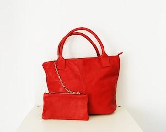 NEW ARRIVAL Italian Vintage Bag Red genuine leather Bauletto handbag genuine leather bag laptop bag tote satchel shoulder bag