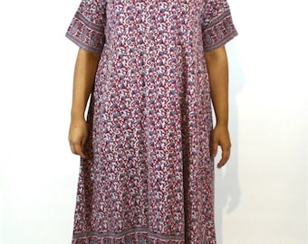 Plus Size Vintage Indian Cotton Dress