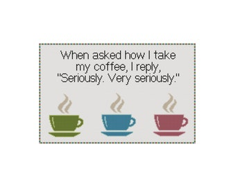 Funny Cross Stitch Pattern, Counted Cross Stitch Chart, Coffee Cross Stitch Quote, Instant Download PDF, Cowbell Cross Stitch