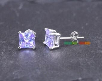 6mm Purple CZ Stud Earrings .925 Sterling Silver Earrings for Girls Children June Birthstone Jewelry Lavender Alexandrite Cubic Zirconia